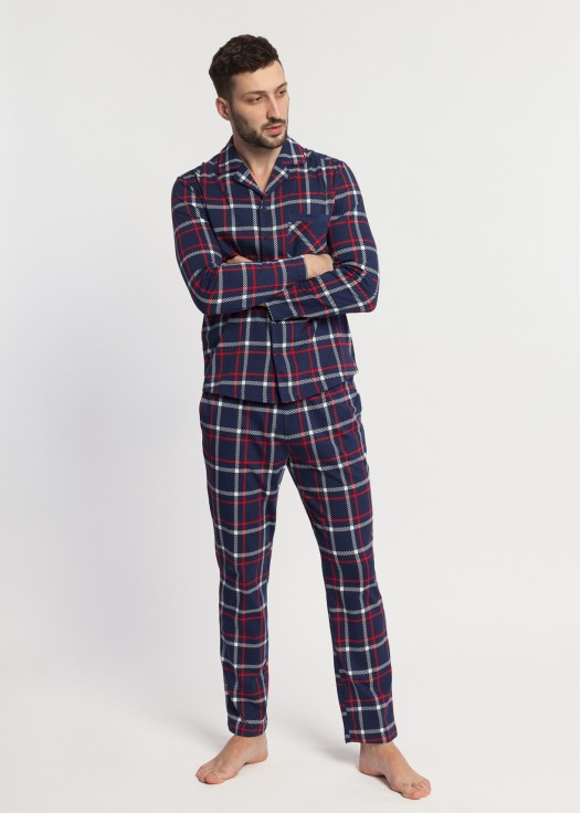 Pijama barbati bumbac cu nasturi Dilan