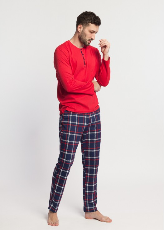 Pijama barbati bumbac maneca lunga Dilan rosu