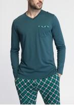 Pijama maneca lunga barbati modal Green Tartan