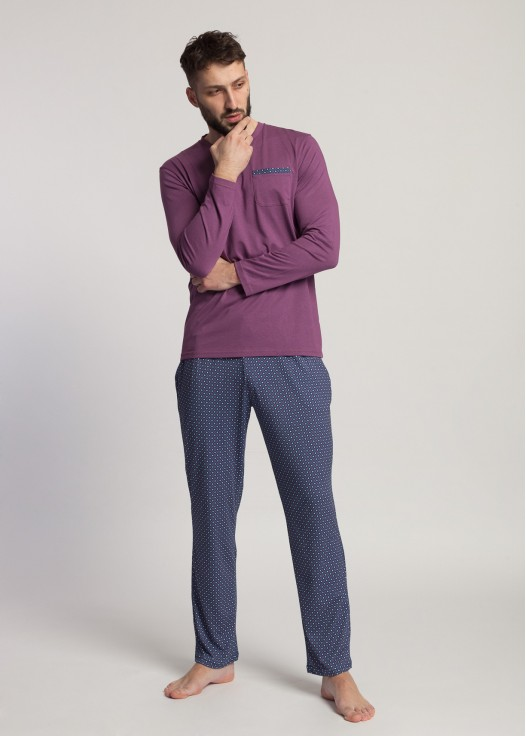 Pijama barbati cu maneca lunga Garet Modal Grape