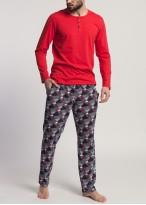 Pijama barbati bumbac maneca lunga Gilbert rosu