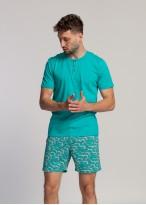 Pijama barbati bumbac organic cu nasturi Green Waves