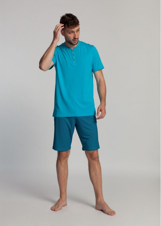 Pijama scurta barbati bambus Derek algiers blue