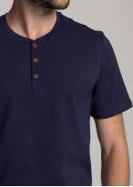 Pijama barbati bumbac organic cu nasturi Blue Stripes eclipse