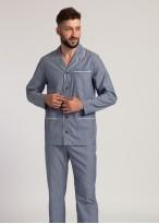 Pijama tesatura bumbac barbati dungi gri