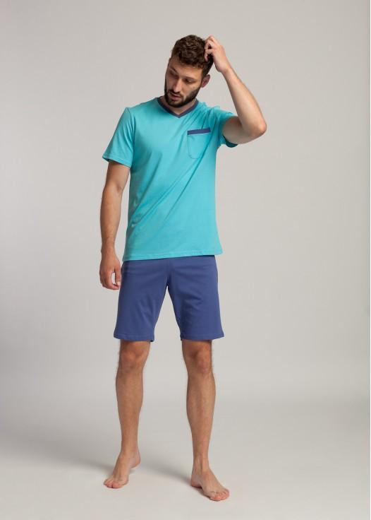 Pijama bumbac barbati turquoise