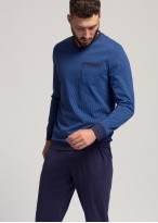 Pijama lunga barbati bumbac organic Blue Stripes