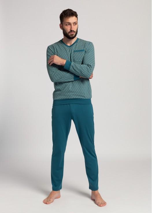 Pijama lunga barbati bumbac organic Peacock AW21