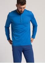Pijama lunga barbati bumbac organic Blue Stripes star sapphire