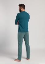 Pijama lunga barbati bumbac organic Peacock collonial blue