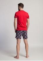 Pijama scurta barbati bumbac Gilbert rosu