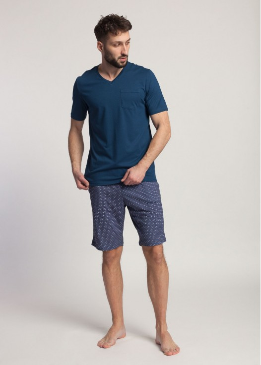 Pijama barbati cu maneca scurta Garet Modal Maroccan Blue
