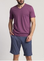 Pijama barbati cu maneca scurta Garet Modal Grape