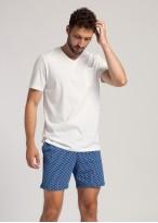 Pijama scurta barbati bumbac organic Fishes alb
