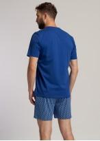 Pijama scurta barbati bumbac organic Fishes bleumarin