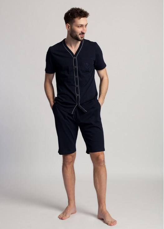 Pijama scurta barbati cu nasturi bleumarin