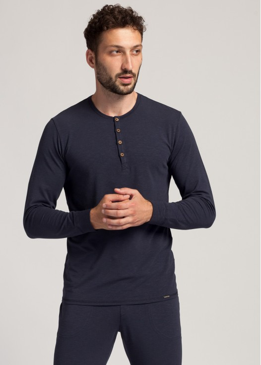 Bluza nasturi barbati modal Soft Touch bleumarin