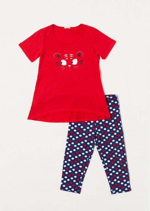 Pijama fetite bumbac rosu