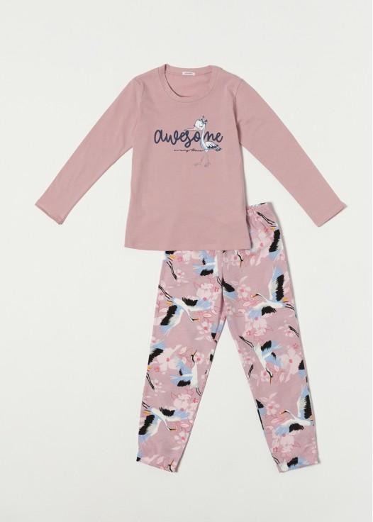 Pijama bumbac fetite Wild Birds