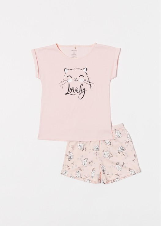 Pijama scurta fetite bumbac organic Cats pink