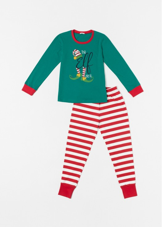 Pijama copii Craciun Elf verde