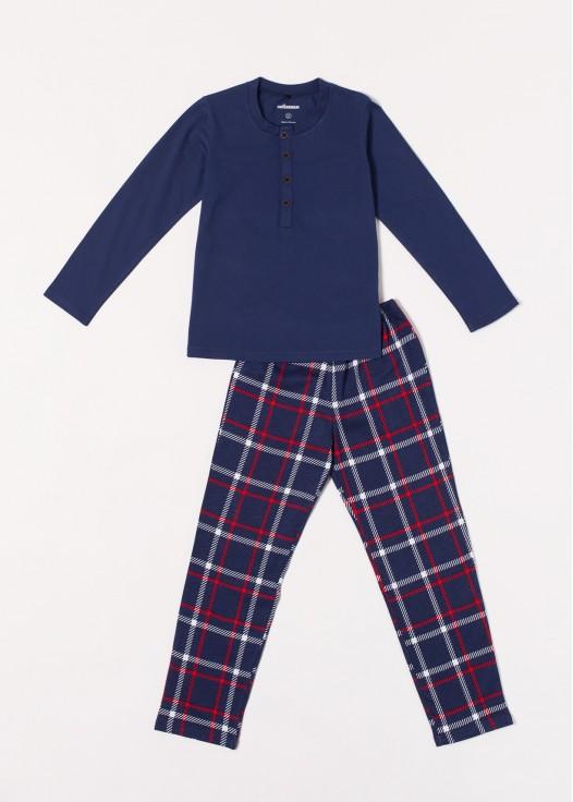 Pijama baieti bumbac Dilan bleumarin