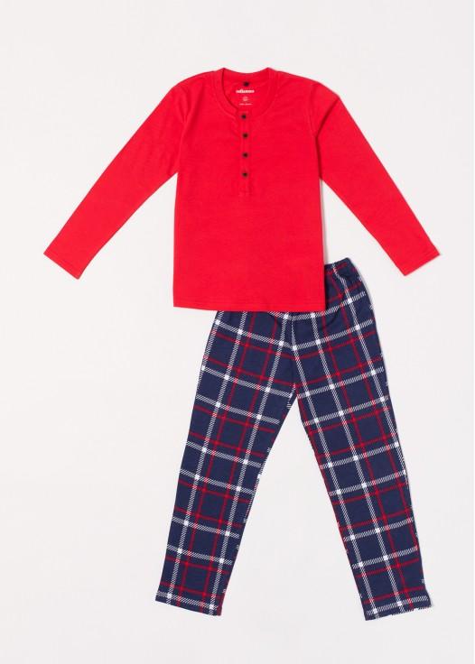Pijama baieti bumbac Dilan rosu