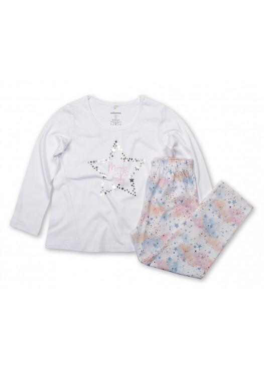 Pijama fetite modal Moonsky alb