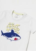 Pijama copii bumbac organic Fishes alb