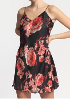 Camasa noapte satin Edith Black and Red