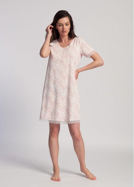 Camasa noapte cu nasturi modal Clara pink