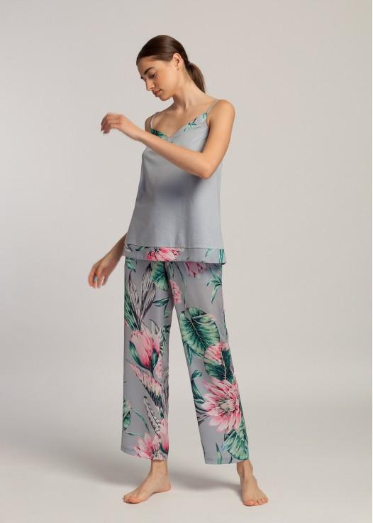 Pantaloni lungi dama satin Beatrice Lotus