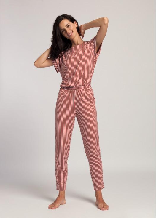 Pantaloni 7/8 dama modal Urban Story red stripes