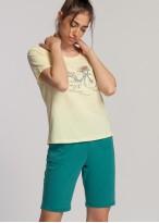 Pijama scurta dama bumbac galben