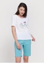 Pijama scurta dama bumbac turqoise
