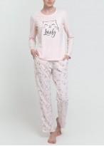 Pijama dama bumbac organic maneca lunga Cats