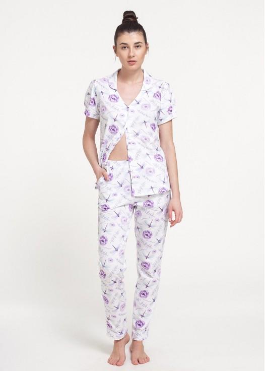 Pijama dama bumbac cu nasturi Dragonflies