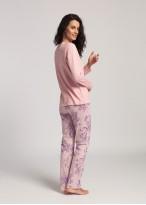 Pijama lunga dama bumbac Pink Stripes powder pink