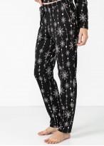 Pijama dama modal cu nasturi Winter Story negru imprimat