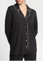 Pijama dama modal cu nasturi Winter Story negru uni