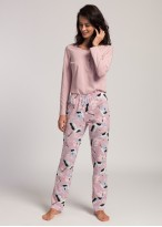 Pijama dama bumbac Wild Birds dawn pink