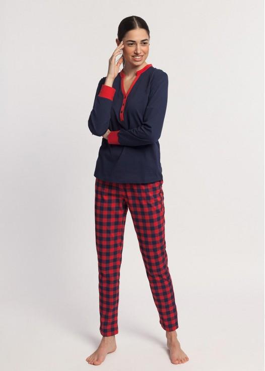 Pijama dama bumbac maneca lunga Nature bleumarin