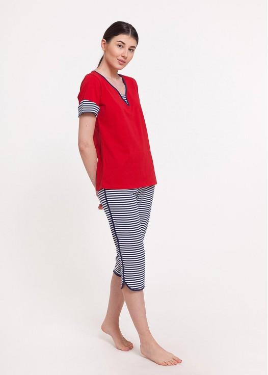 Pijama dama bumbac maneca scurta Edie red