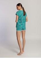 Pijama scurta dama bumbac organic Green Waves