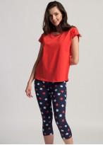 Pijama dama bumbac maneca scurta Grace red