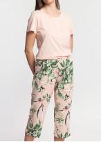 Pijama dama bumbac pantaloni 3/4 Emily roz
