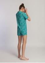 Pijama dama cu nasturi bumbac organic Green Waves