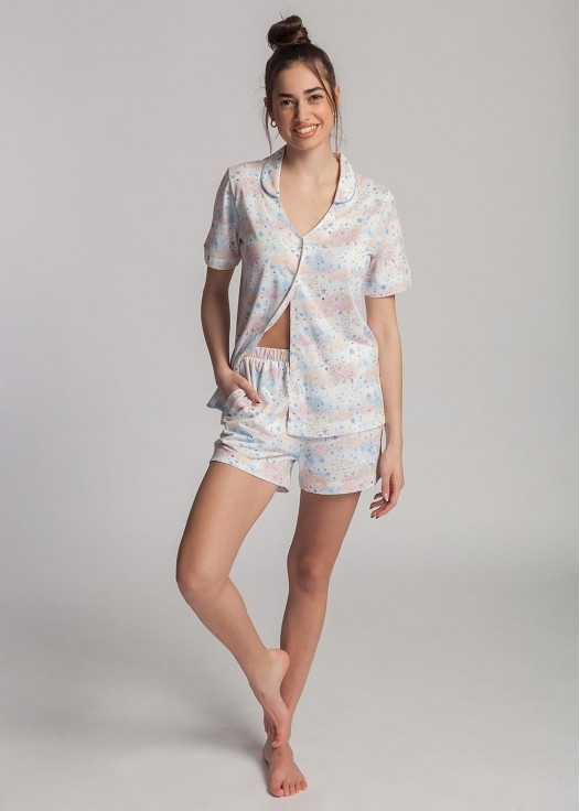 Pijama scurta dama modal cu nasturi Moonsky
