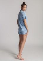 Pijama scurta dama modal cu nasturi Moonsky Blue Moon