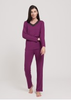 Pijama dama vascoza maneca lunga Edith purple